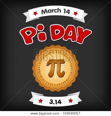 Pi Day, March 14, international holiday to celebrate the mathematical constant Pi, 3.14, and to eat lots of fresh baked sweet pie, red text, chalk board background.
