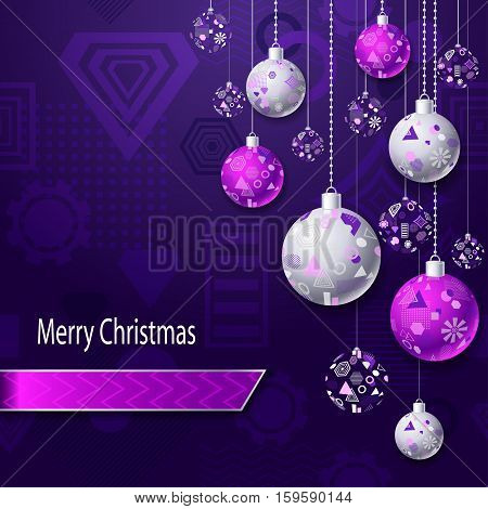 Merry Christmas or New Year background with Christmas balls in silver pink on lilac violet and geometric seamless pattern. Creative Post Card for winter holiday. Vector Stock  Illustration.
