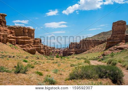 View over Sharyn or Charyn Canyon Kazakhstan second biggest canyon in the world