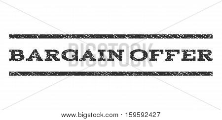 Bargain Offer watermark stamp. Text tag between horizontal parallel lines with grunge design style. Rubber seal gray stamp with dirty texture. Vector ink imprint on a white background.