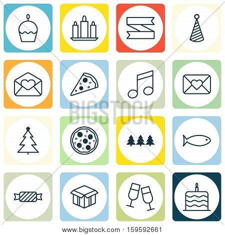 Set Of 16 Christmas Icons. Can Be Used For Web, Mobile, UI And Infographic Design. Includes Elements Such As Close, Party, Love And More.
