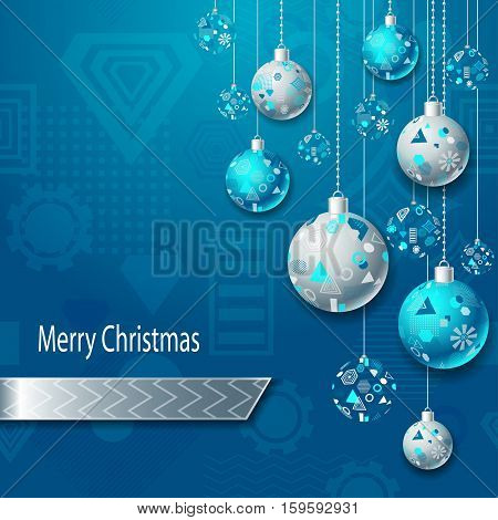 Merry Christmas or New Year background with Christmas balls in silver blue on blue and geometric seamless pattern. Creative Post Card for winter holiday. Vector Stock  Illustration.