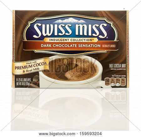 Winneconne WI - 30 November 2016: Package of Swiss Miss dark chocolate hot cocoa mix on an isolated background.
