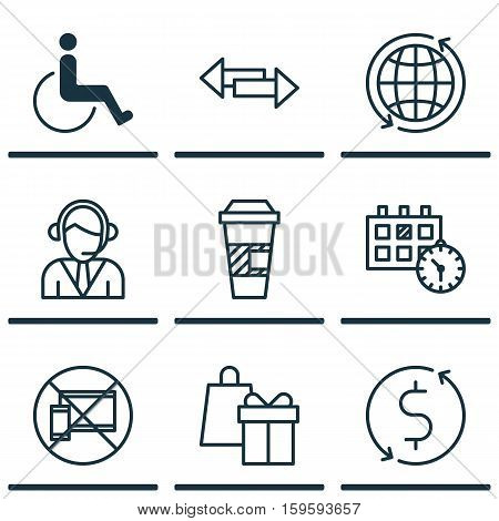 Set Of 9 Transportation Icons. Can Be Used For Web, Mobile, UI And Infographic Design. Includes Elements Such As Operator, Mobile, Disabled And More.