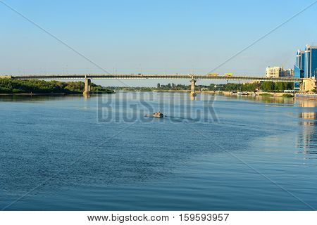 View On Volga River And Bridge In Astrakhan