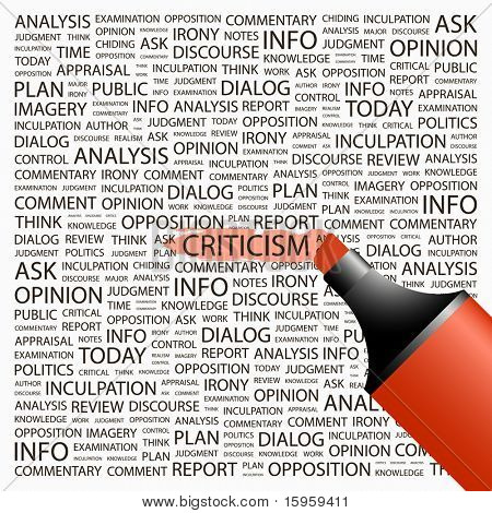 CRITICISM. Highlighter over background with different association terms. Vector illustration.
