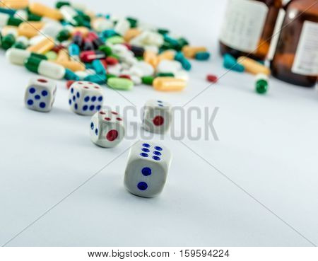 dices and expire medicines showing unhygienic and black medical market concept