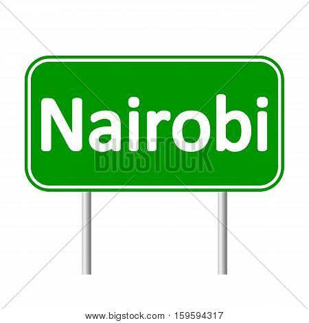 Nairobi road sign isolated on white background.