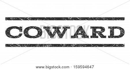 Coward watermark stamp. Text tag between horizontal parallel lines with grunge design style. Rubber seal gray stamp with dust texture. Vector ink imprint on a white background.