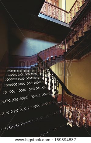 old wrought-iron staircase vintage, step, house, stair,