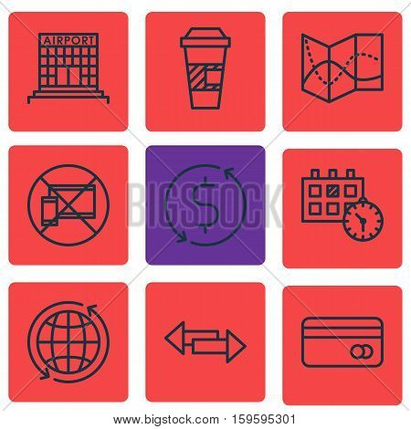 Set Of 9 Transportation Icons. Can Be Used For Web, Mobile, UI And Infographic Design. Includes Elements Such As Appointment, Building, Debit And More.