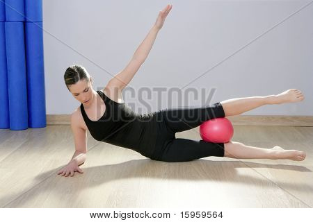 poster of pilates woman stability ball gym fitness yoga exercises girl