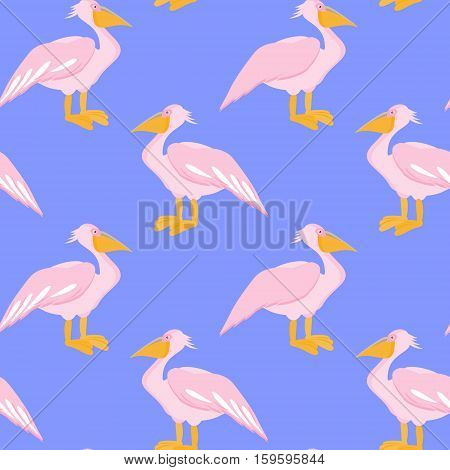 Pelican seamless pattern. Pelican bird on blue background. Vector illustration