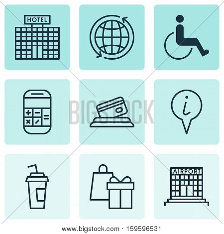 Set Of 9 Transportation Icons. Can Be Used For Web, Mobile, UI And Infographic Design. Includes Elements Such As Pointer, Card, Hotel And More.