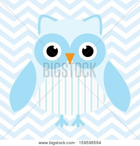 Baby shower illustration with cute blue baby owl on blue chevron background suitable for baby shower invitation card, postcard, and nursery wall