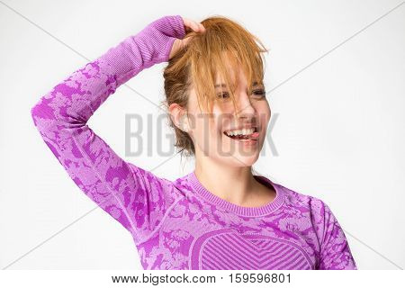 Joyful Girl Sticking Her Tongue Out, Face Covered By Hair