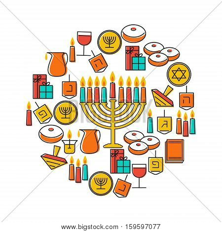 Hanukkah holiday background. Design elements set. Holiday symbols menorah candlestick , candles, donuts sufganiya , gifts, dreidel, coins, oil. Greeting card template design. Vector illustration