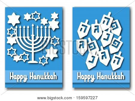 Happy Hanukkah greeting cards design. Vector illustration for jewish holiday Hanukkah.
