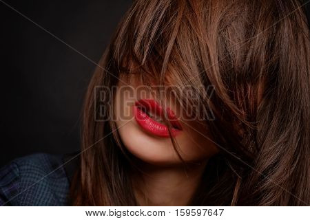 Portrait Of Girl With Closed Hair Face