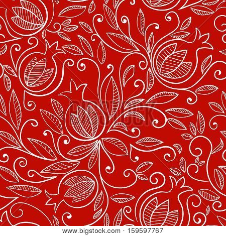 Seamless pattern with pomegranate, Rosh Hashanah symbol. Floral pattern with decorative pomegranate fruits and leaves. White pattern on red background. Vector illustration