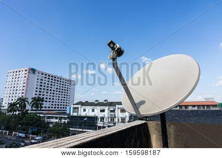 Satellite dishes or satellite antennas mounted on the home.