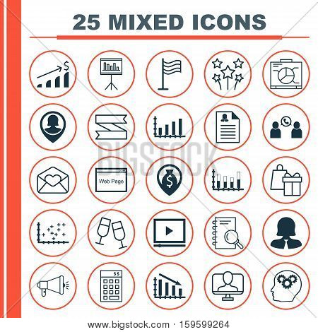 Set Of 25 Universal Editable Icons. Can Be Used For Web, Mobile And App Design. Includes Elements Such As Board, Brain Process, Shopping And More.