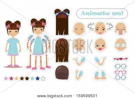 Character for animation. Pupil character for your scenes. Parts of body template for design work and animation.