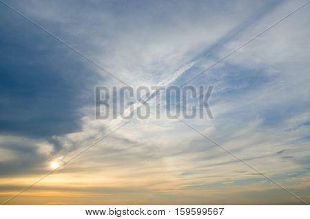 various cloud chaos. volumetric clouds at sunset.