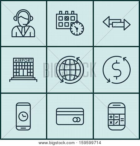 Set Of 9 Transportation Icons. Can Be Used For Web, Mobile, UI And Infographic Design. Includes Elements Such As Call, Crossroad, Credit And More.