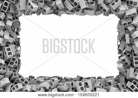 3d rendering of a rectangular frame made of gray cinder blocks lying at the edges with white empty space in the middle. Building materials. Construction industry. Renovation of premises.