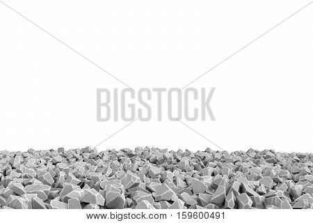 3d rendering frame made of stones lying at the bottom on white background. Photo frame. Building material. Industry-specific background.
