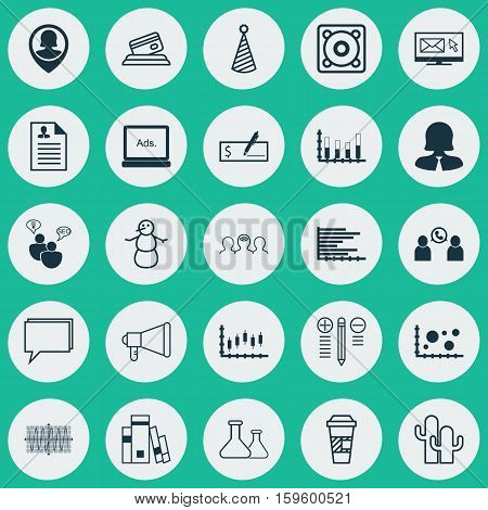Set Of 25 Universal Editable Icons. Can Be Used For Web, Mobile And App Design. Includes Elements Such As Pin Employee, Stock Market, Business Woman And More.