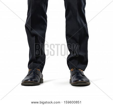 Front view of cropped legs of a businessman isolated on white background. Business staff. Office clothes. Big feet. Domination and superiprity.