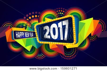 Colorful of Happy new year and abstract geometric background.The 2017 year on retro board with light bulbs billboard frame.Vector illustration eps 10
