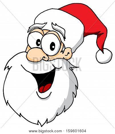 Vector Cartoon of a Santa Claus Head Portrait