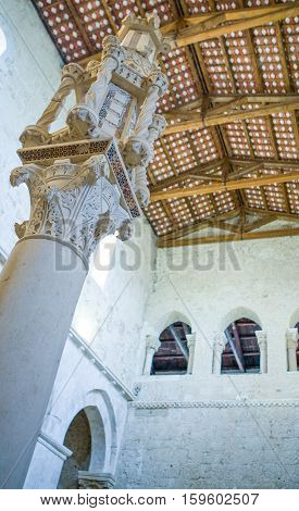 Casauria,  Italy - August 20, 2006:  Upward view of the inside of the St. Clemente basilica