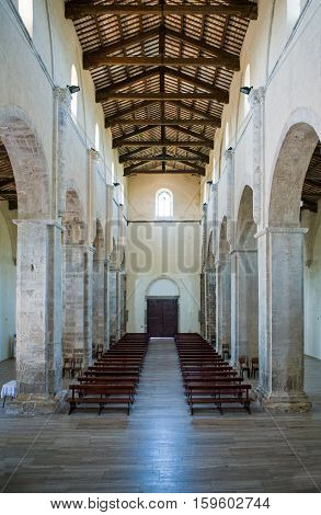 Fossacesia, Italy - September 11, 2006:  The nave of the St. Giovanni abbey (XIII century)