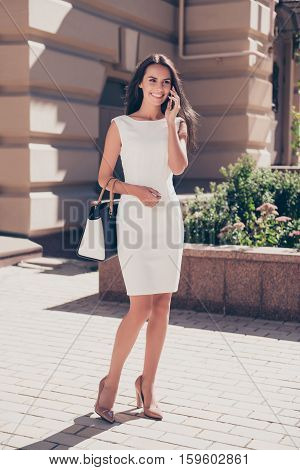 Full Photo Of Stylish Businesswoman Walking On Meeting And Calling To Client