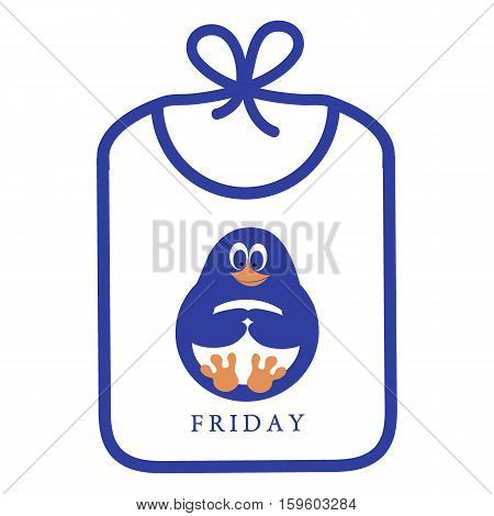 Cute Icon With Bib With A Picture Of A Funny Cartoon Penguin