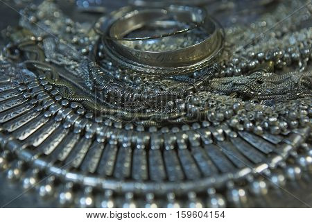 Silver jewelry. Lot of Beautiful Oriental Silver Gold (Indian Arab African). Fashion Ethno Accessories Asian Bridal jewelry. Tribal Moroccan belly Dance Jewelry. Necklace Earrings Bracelets.
