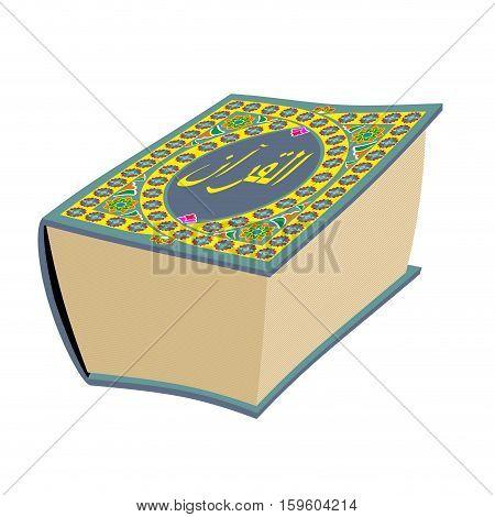 Quran Islamic holy book isolated.  Big Muslim volume oriental pattern