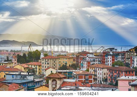 Scenic Aerial View Of La Spezia At Sunrise