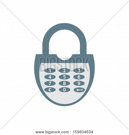 Stylized icon of a colored combination lock on a white background