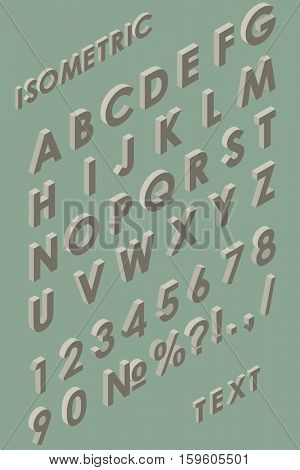 Isometric vintage colored alphabet vector template. Letters and figures 3D set.