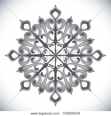 Black snowflake shape isolated on white background. Winter design element.