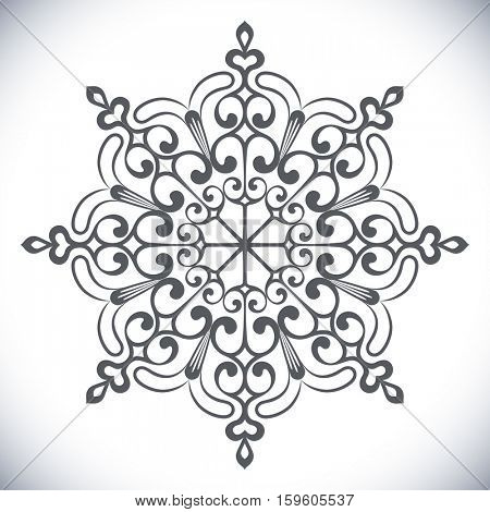 Black snowflake shape isolated on white background.