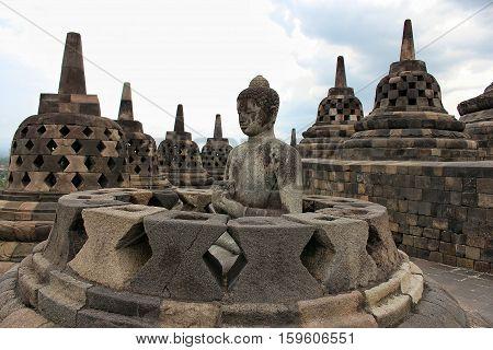 Buddha statue at the Borobudur temple, Indonesia