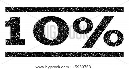 10 Percent watermark stamp. Text tag between horizontal parallel lines with grunge design style. Rubber seal black stamp with scratched texture. Vector ink imprint on a white background.