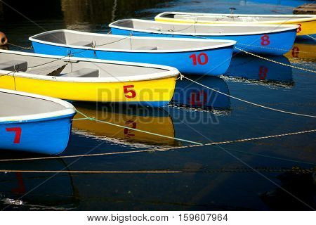 Row Of Colorful Blue And Yellow Boats