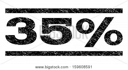 35 Percent watermark stamp. Text caption between horizontal parallel lines with grunge design style. Rubber seal black stamp with scratched texture. Vector ink imprint on a white background.